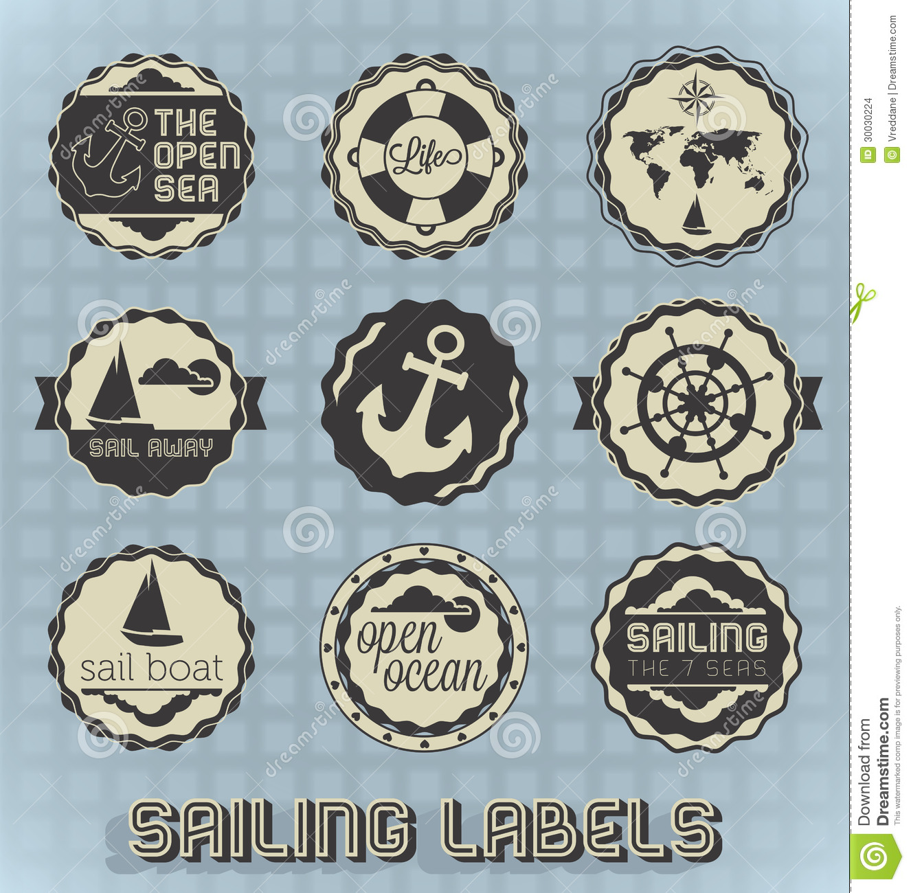Retro Style Sailing Labels And Icons Stock Images Image 30030224