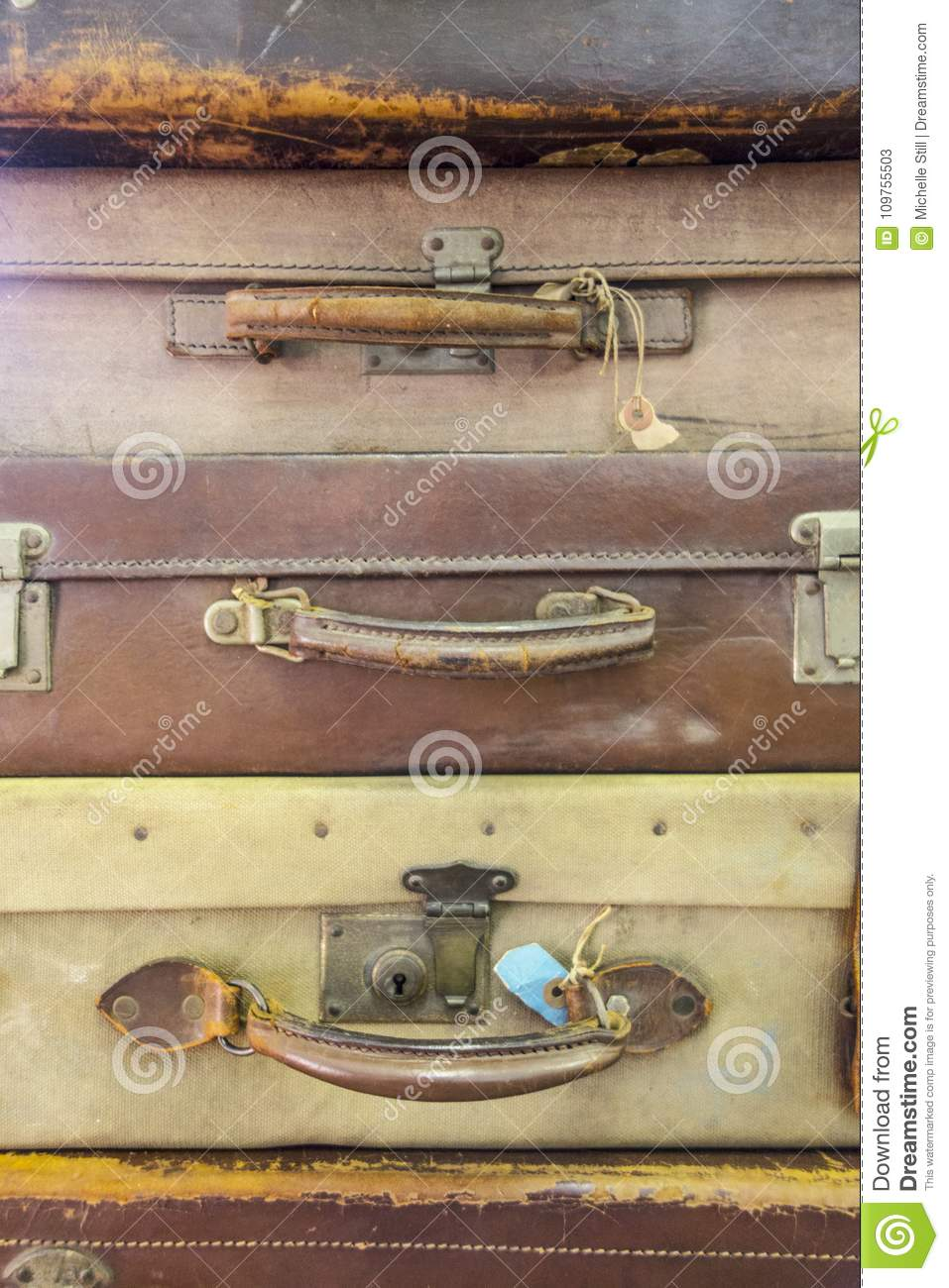 collection of vintage used suitcases stock image image of