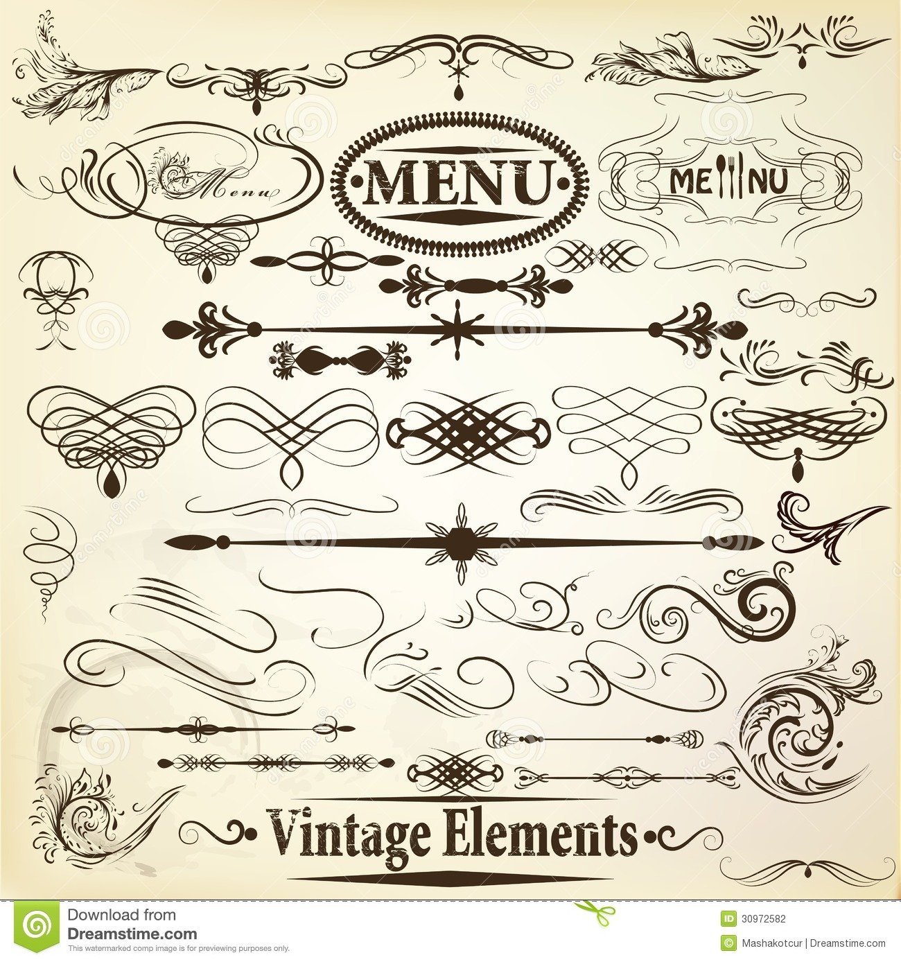 Collection of vintage vector calligraphic design elements - Design elementi ...