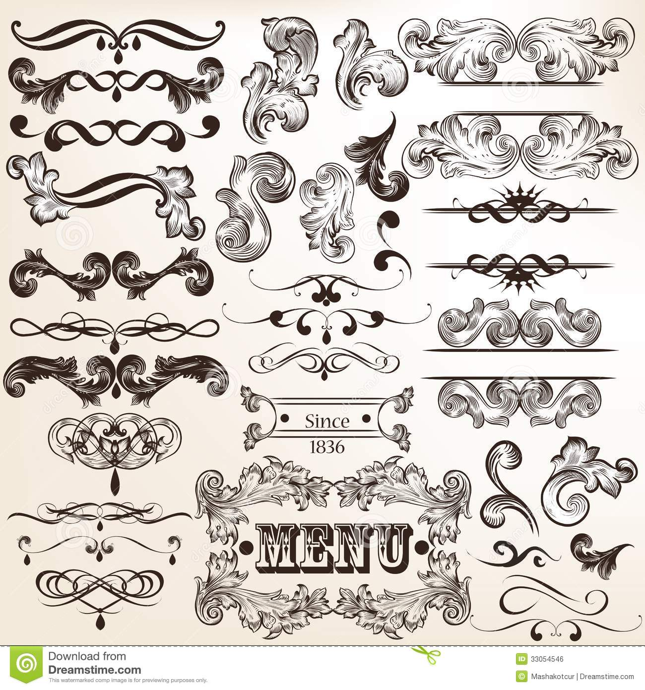 Collection Of Vintage Vector Decorative Calligraphic