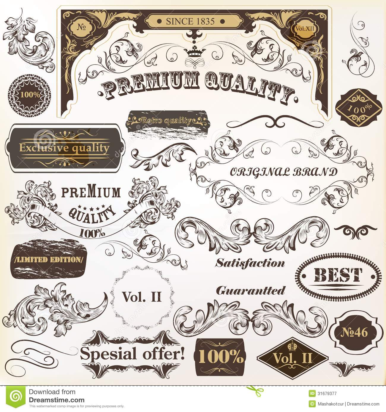 Collection Of Vintage Vector Design Elements And Labels Royalty ...