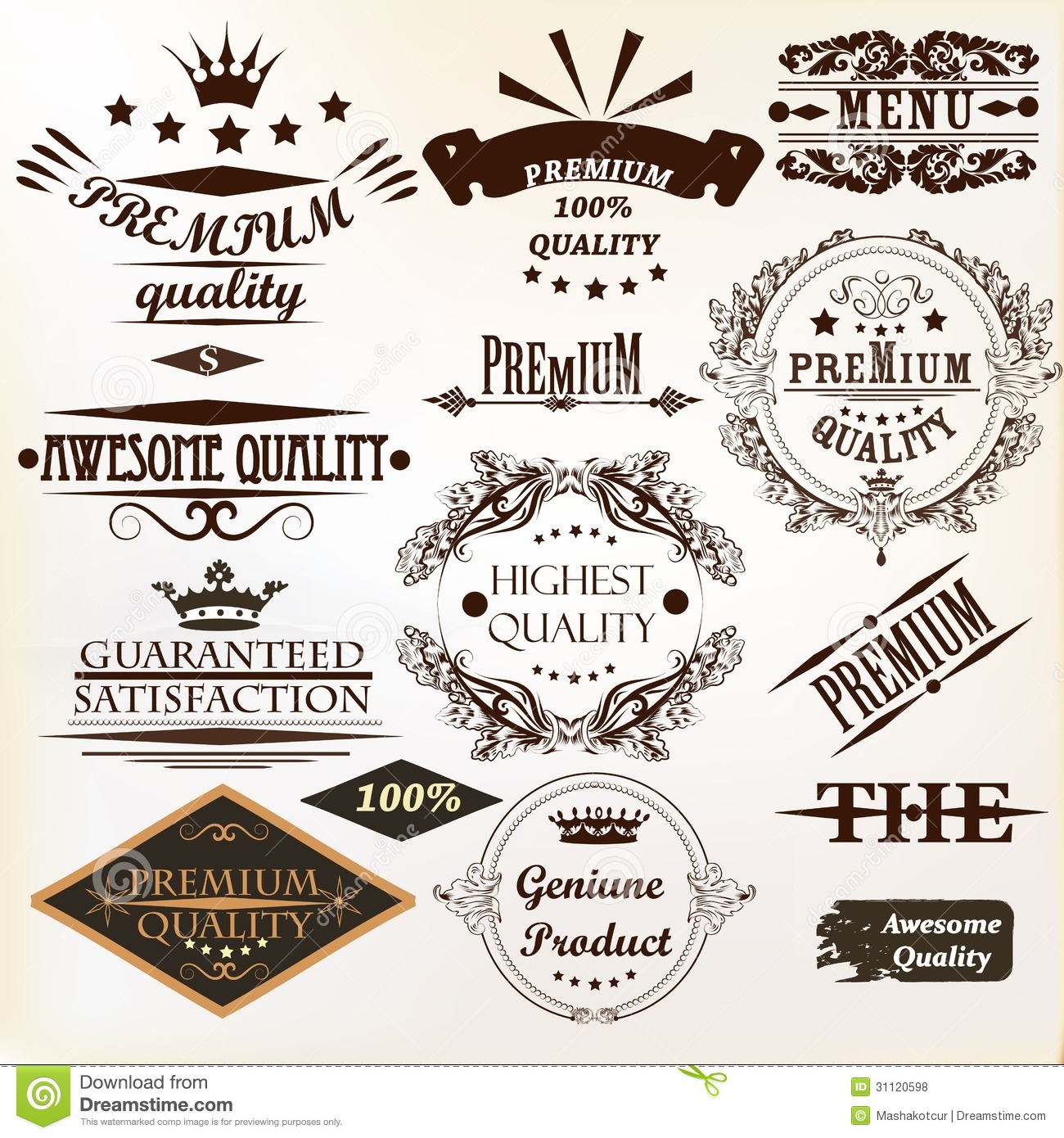 collection of vintage vector labels best and premium quality stock vector image 31120598. Black Bedroom Furniture Sets. Home Design Ideas