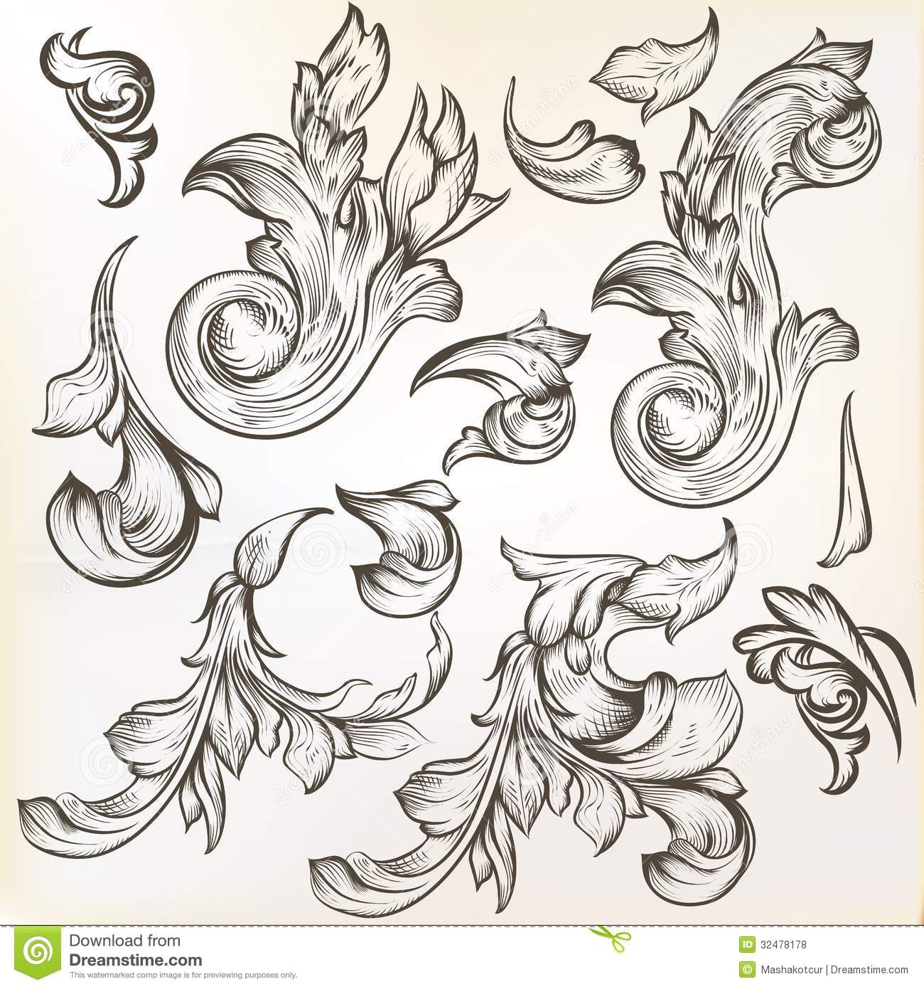 Collection of vintage vector swirls for design royalty