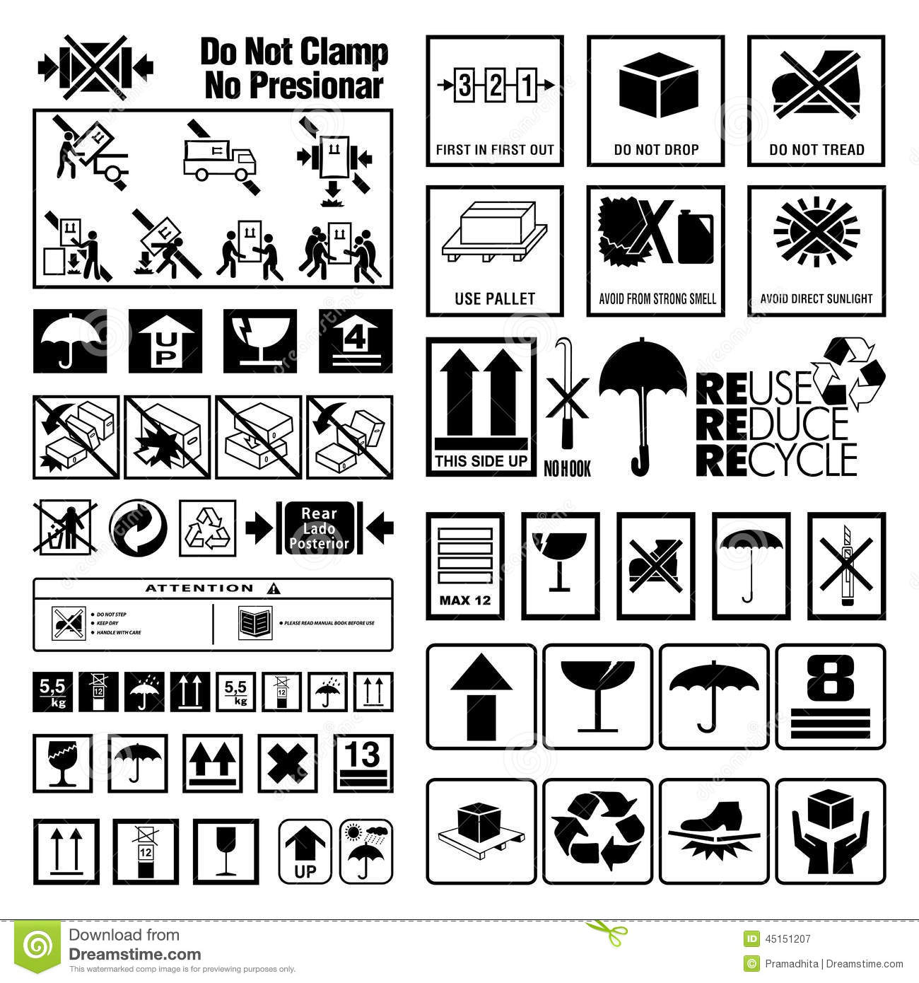 Collection of warning and instruction symbols stock vector - Instructions de lavage symboles ...