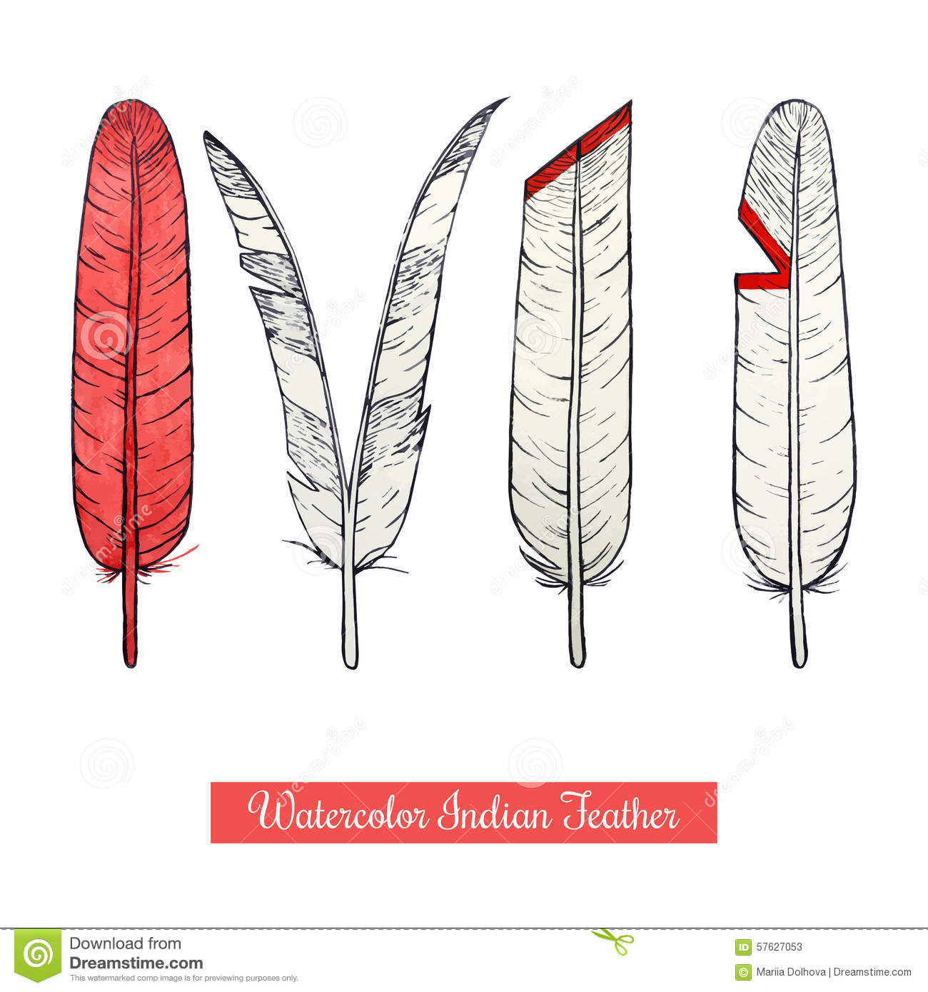 Collection Of Watercolor Hand Draw Native American War Feathers