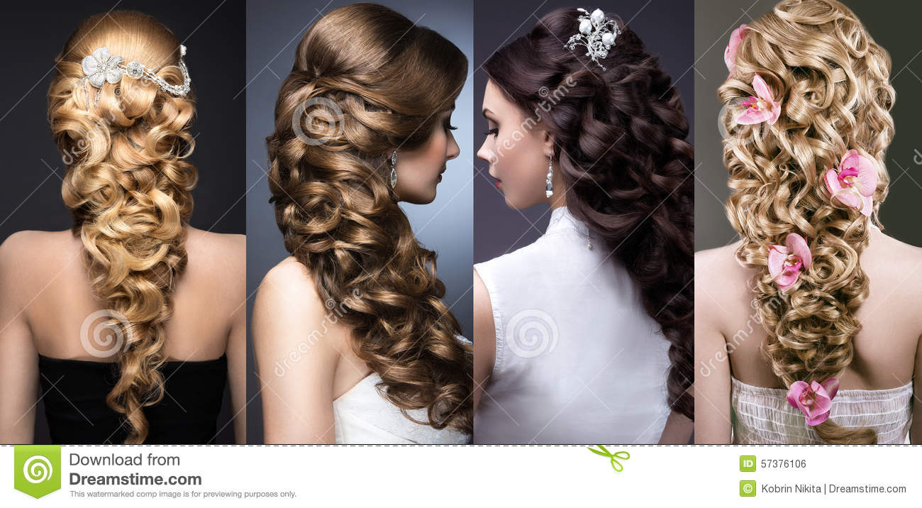 Collection Of Wedding Hairstyles Beautiful Girls Stock Photo - Wedding hairstyle download