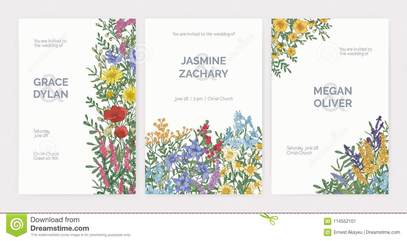 Collection Of Wedding Party Celebration Invitation Templates With ...