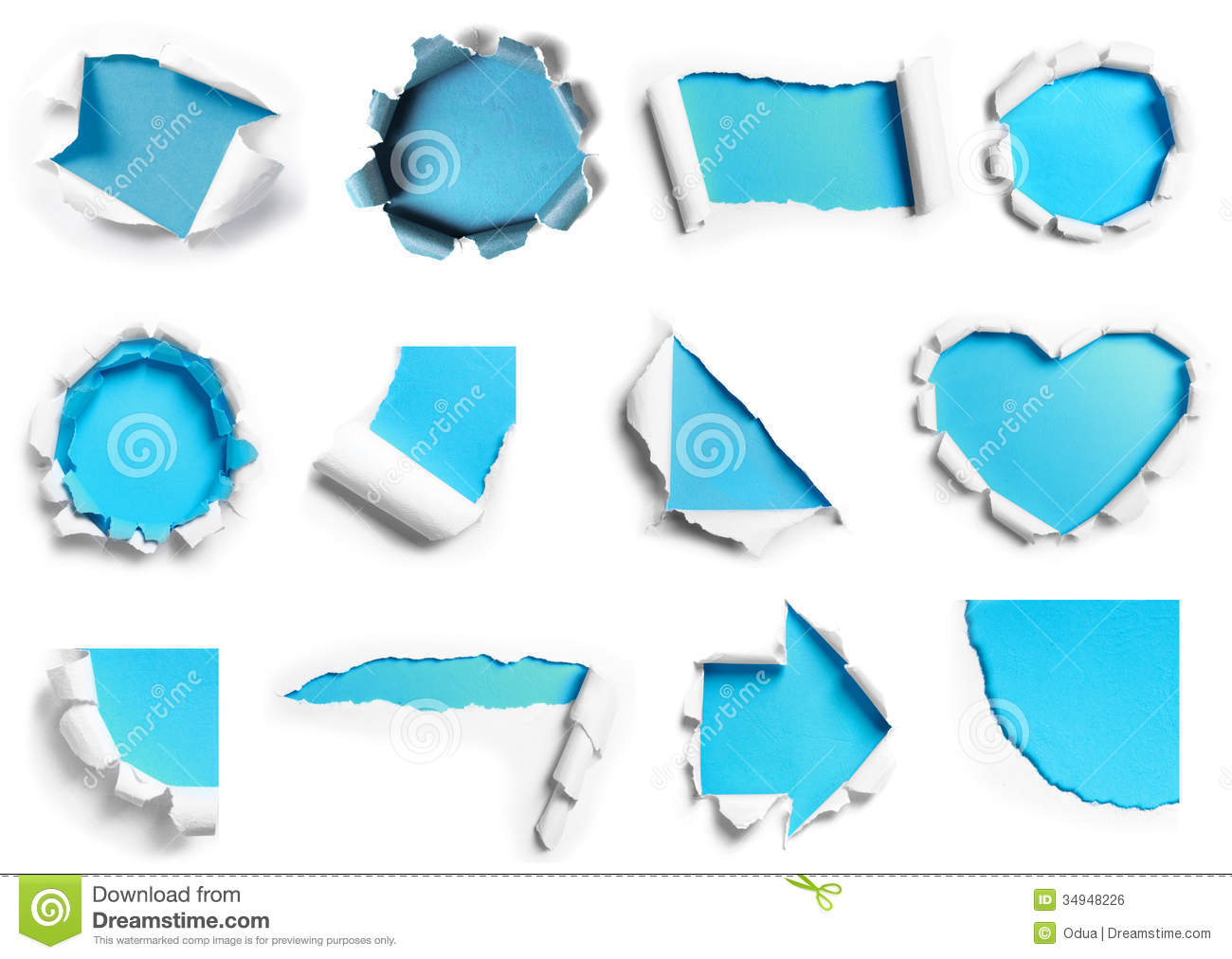 collection of white torn paper with blue background in. Black Bedroom Furniture Sets. Home Design Ideas