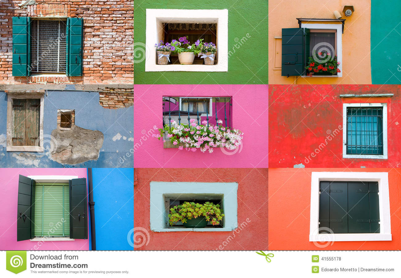 Collection of windows on colored walls
