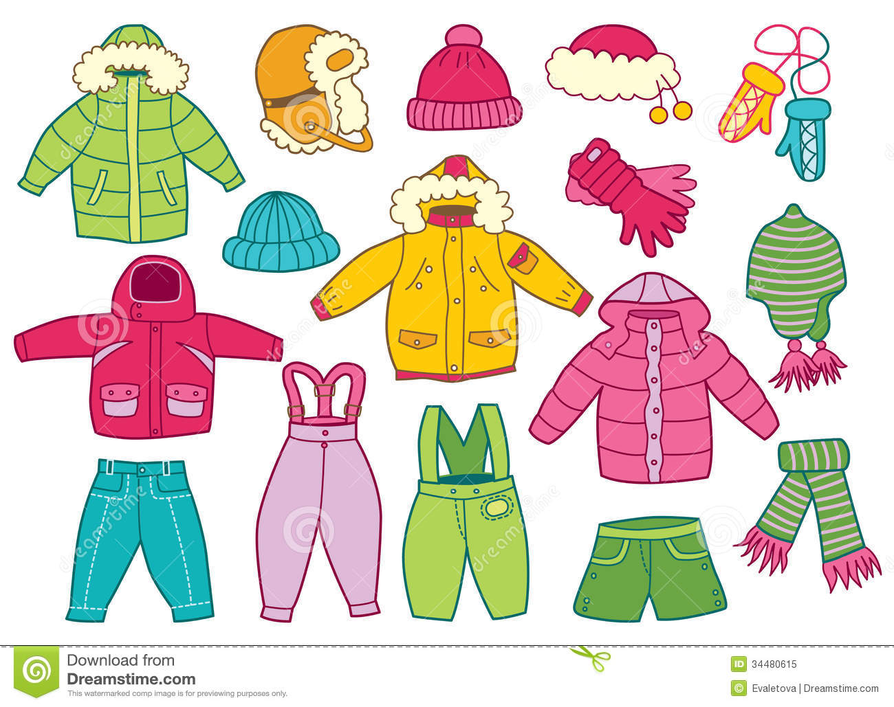 Vector Set Icon Of Winter Clothes And Accessories Stock Vector ...