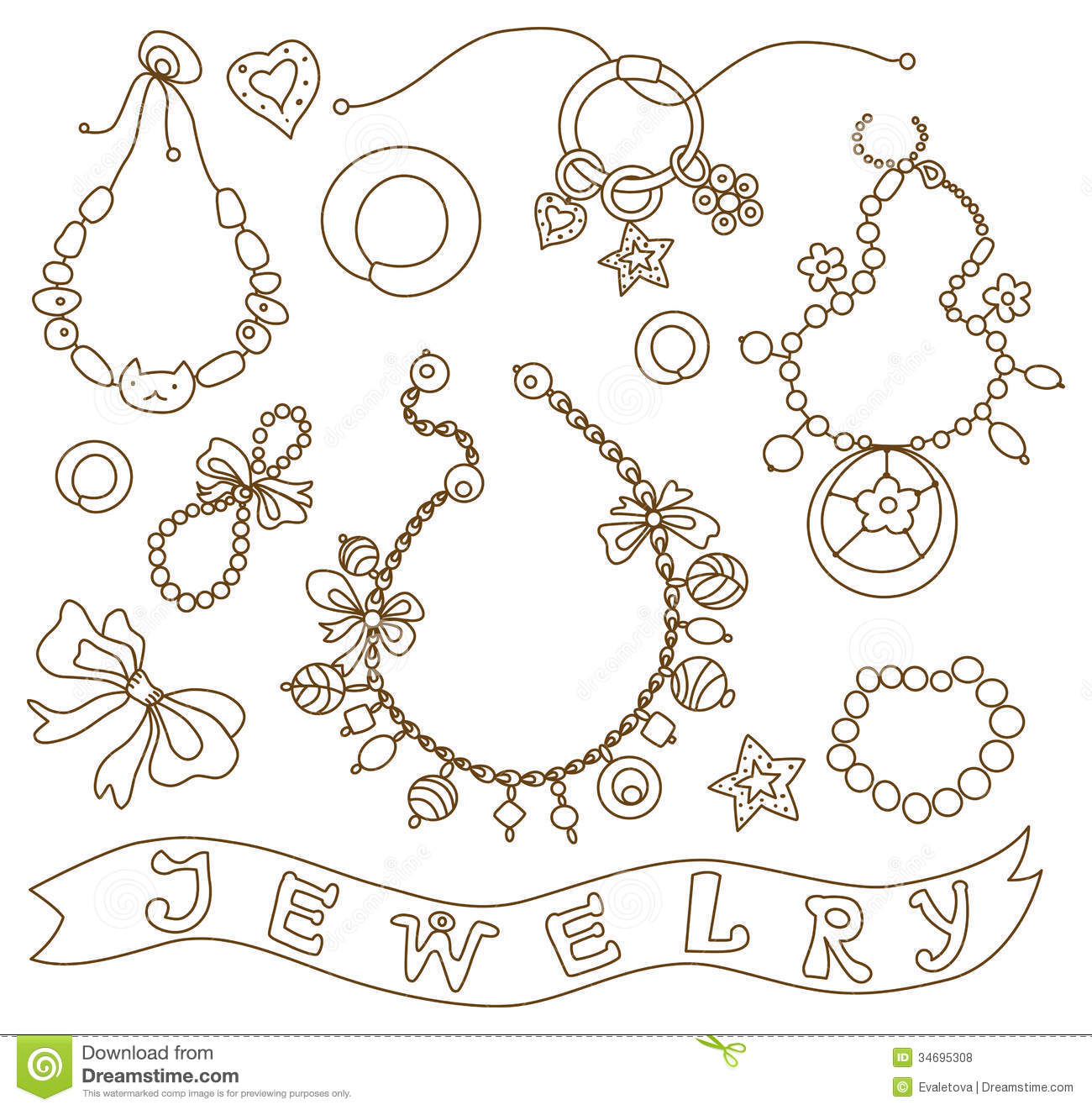 Collection of womens jewelry stock vector image 34695308 for Jewelry books free download