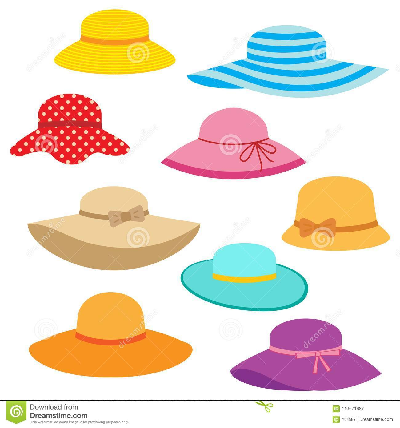 ab57cebb Vector collection of women`s summer hats. More similar stock illustrations