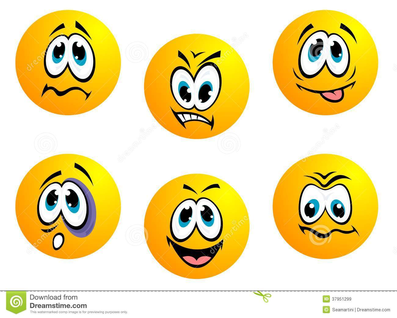Collection Of Yellow Emoticons Stock Vector - Image: 37951299