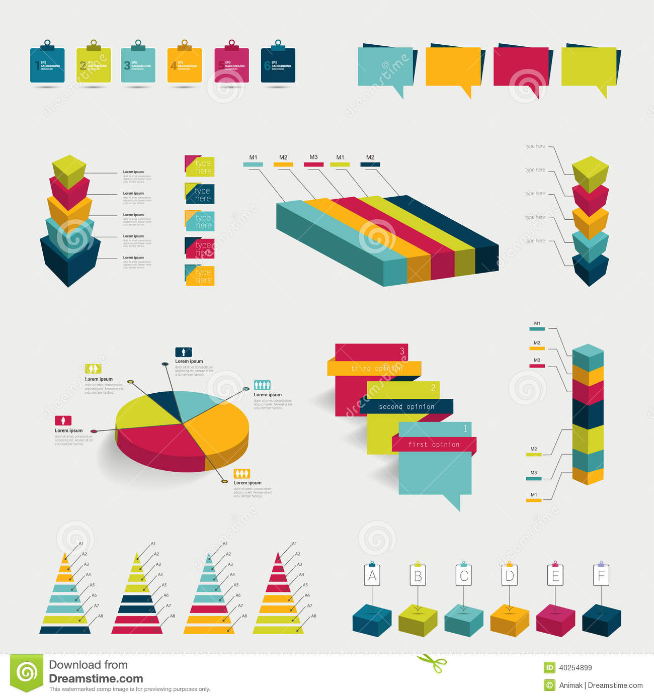 collections of infographics flat design diagrams  stock