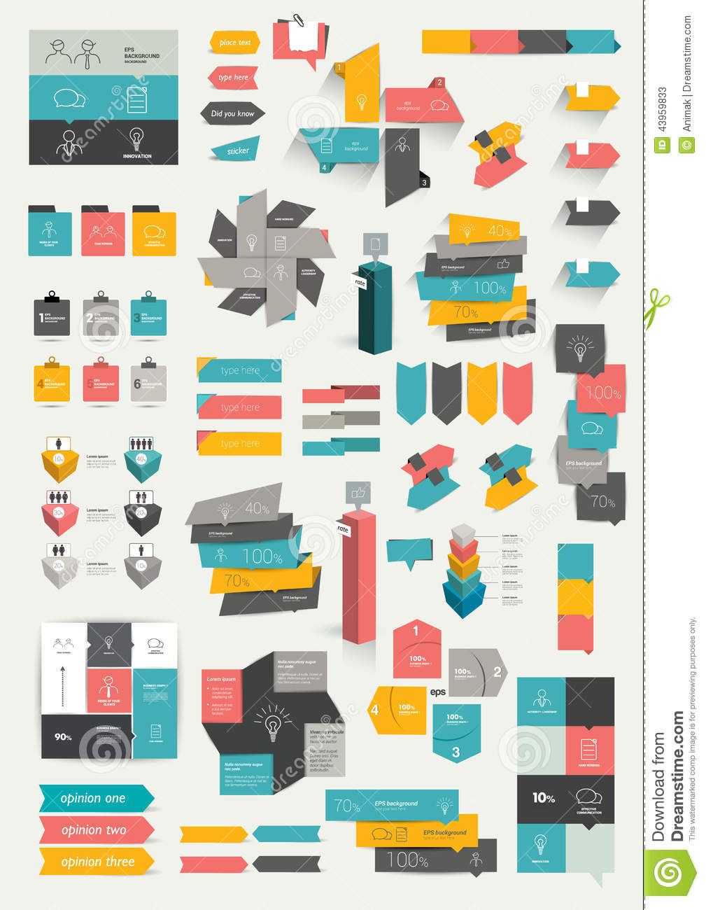Collections Of Infographics Flat Design Template Stock Vector Image 43959833