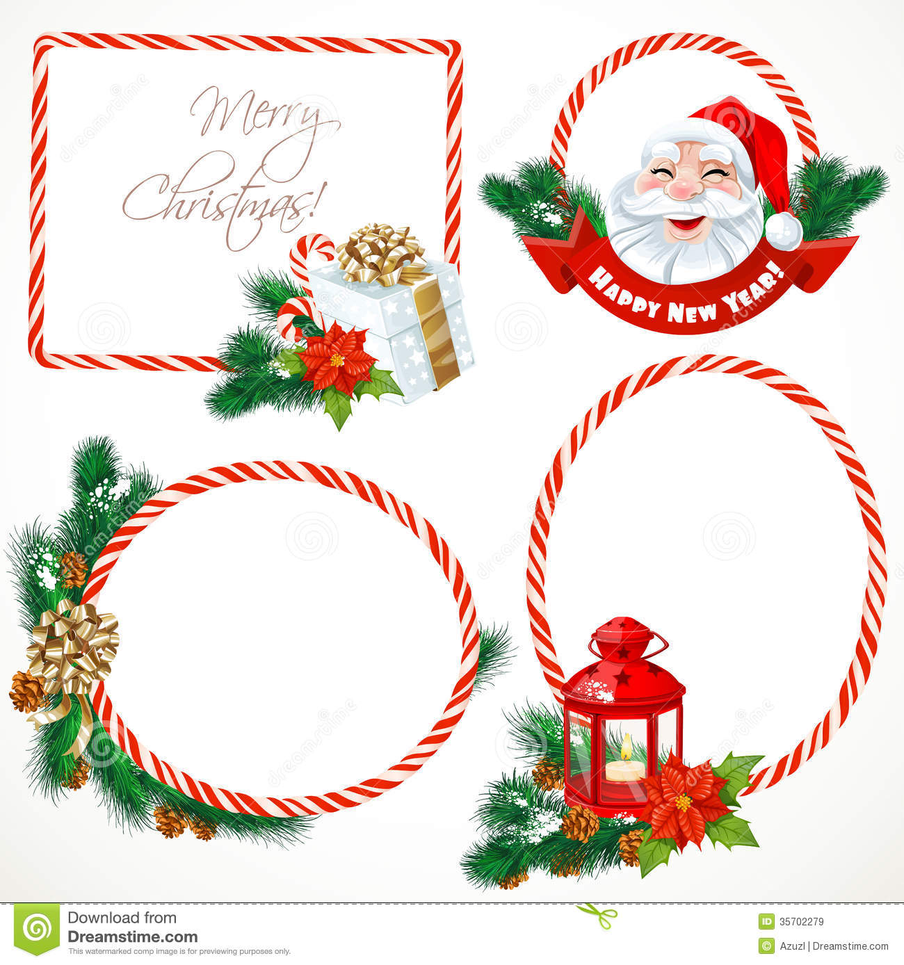 Collectiont Of Christmas Stickers And Banners Royalty Free