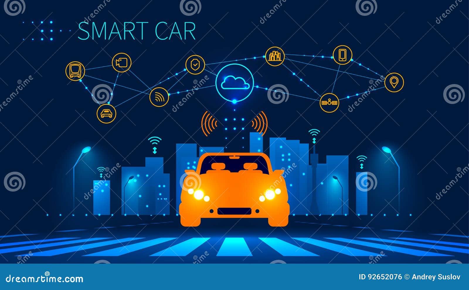 Collegamento di rete wireless astuto dell automobile con la città astuta