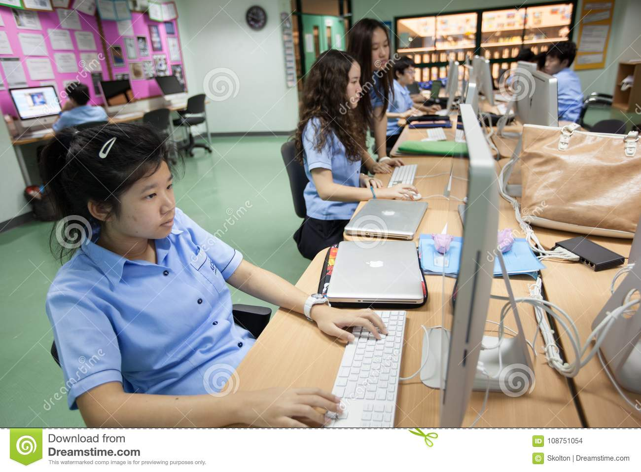 Download In A College Bangkok Students Computer Class Editorial Stock Image