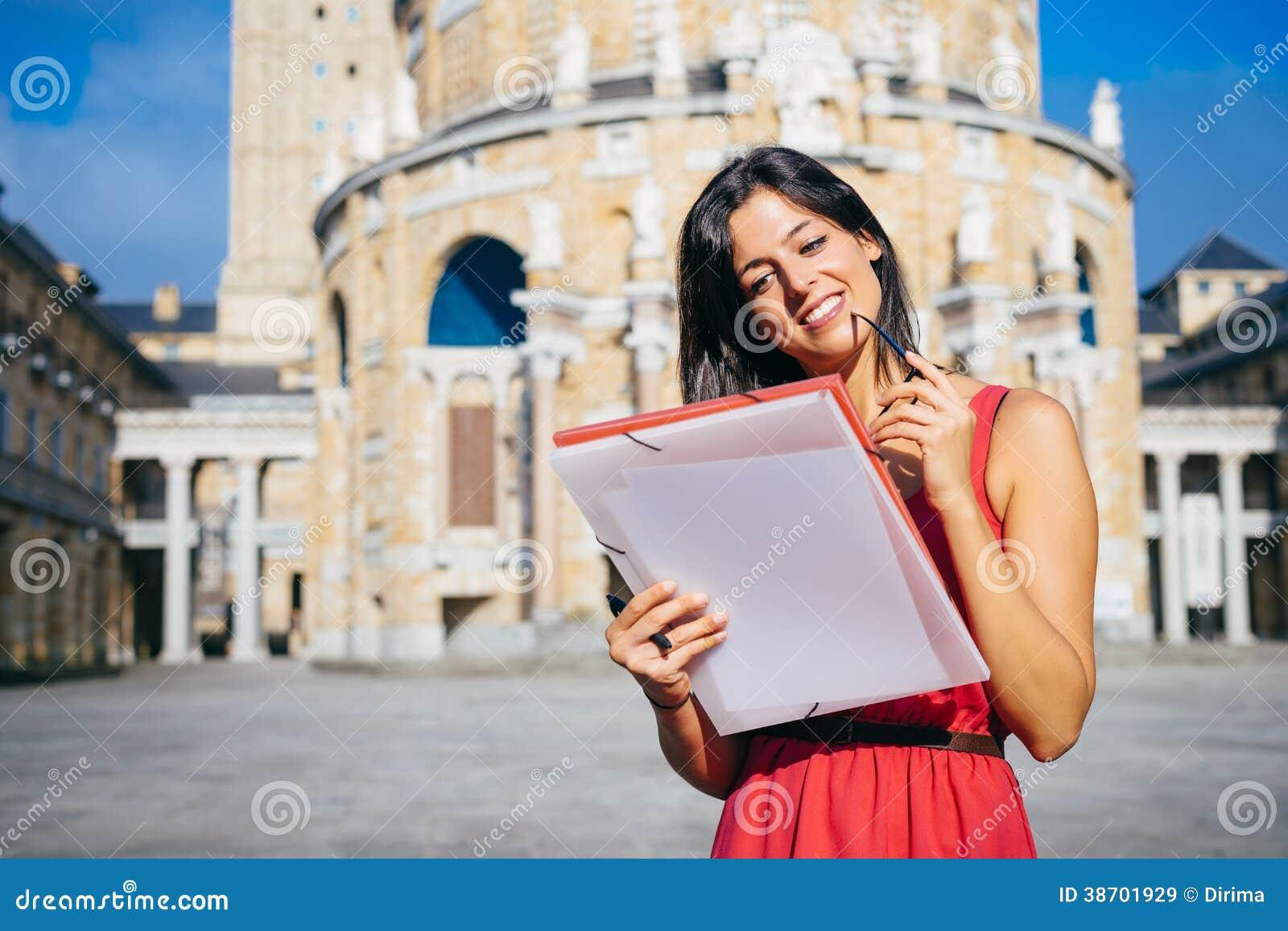 College beautiful female student at university