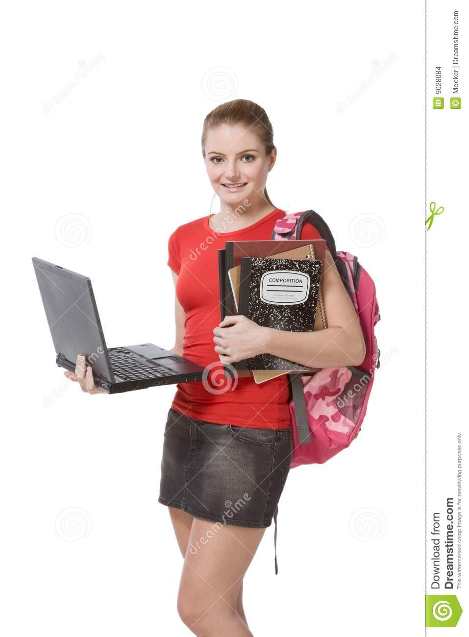 college female student girl with laptop backpack stock
