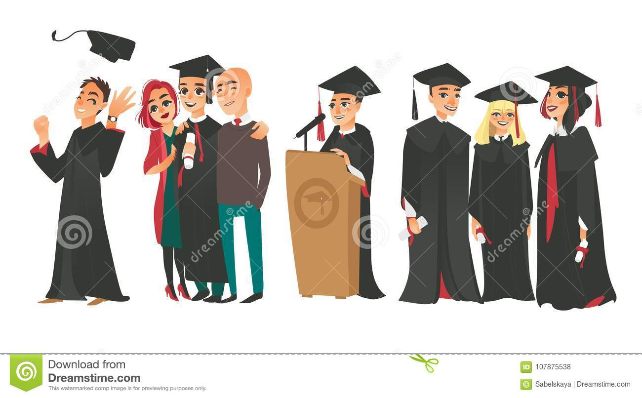 College Graduates, Boys And Girl In Caps And Gowns Stock Vector ...
