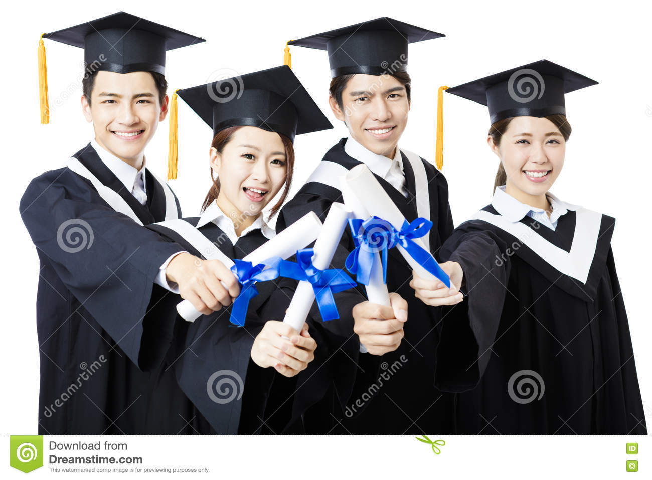 College Graduates In Graduation Gowns Standing And Smiling Stock ...