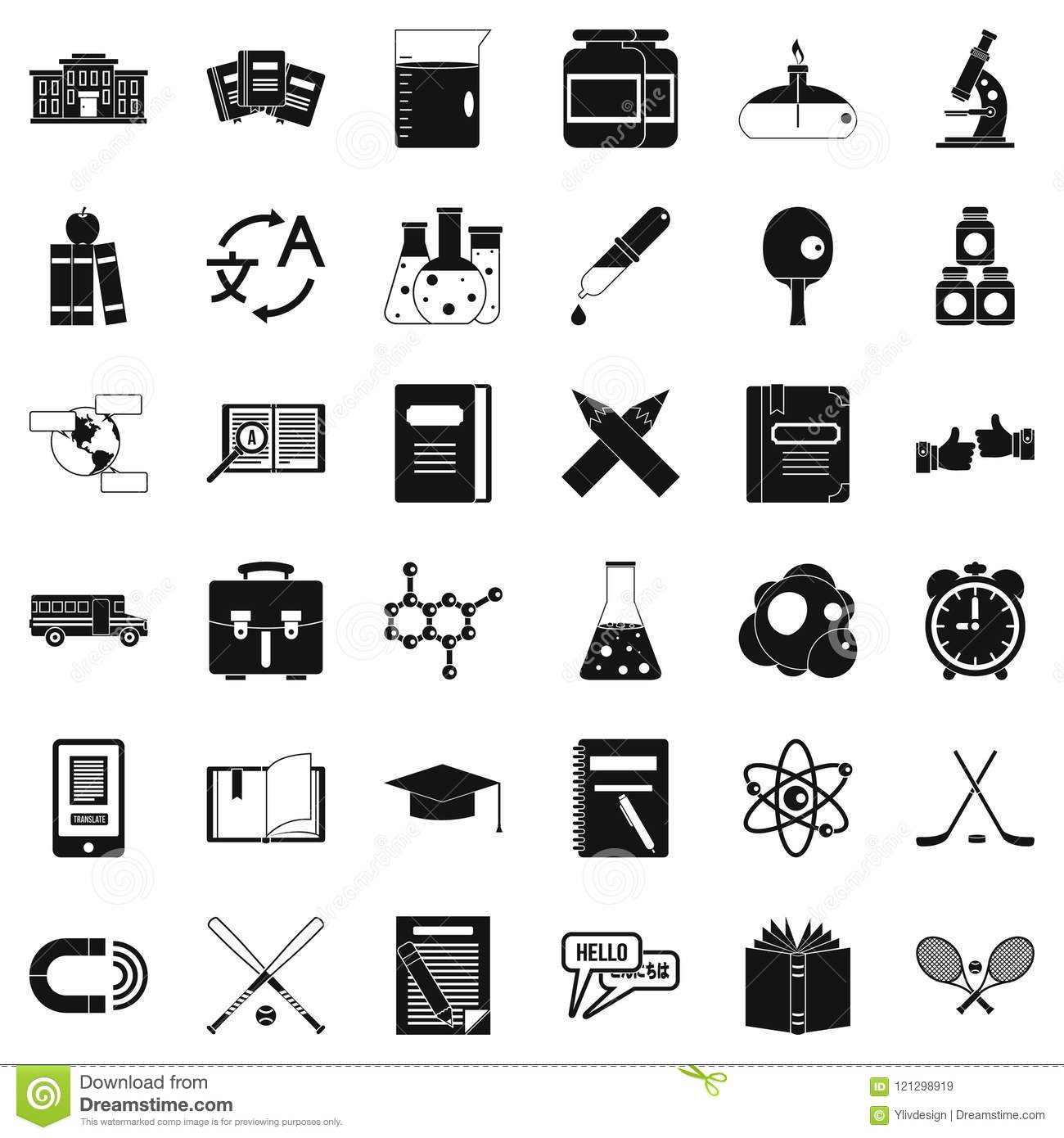 Download College Icons Set Simple Style Stock Vector