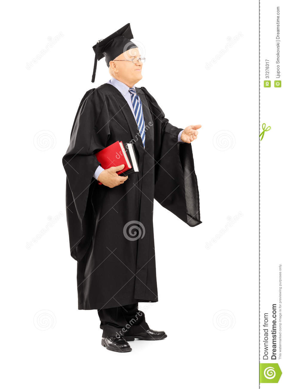 College Professor In Graduation Gown Holding Books Royalty Free ...