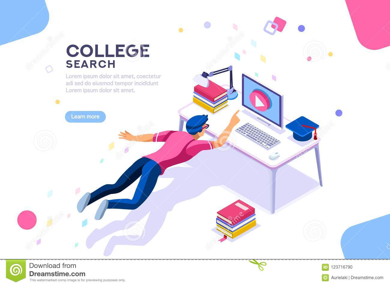 Character Design Courses University : College search university online courses banner stock vector