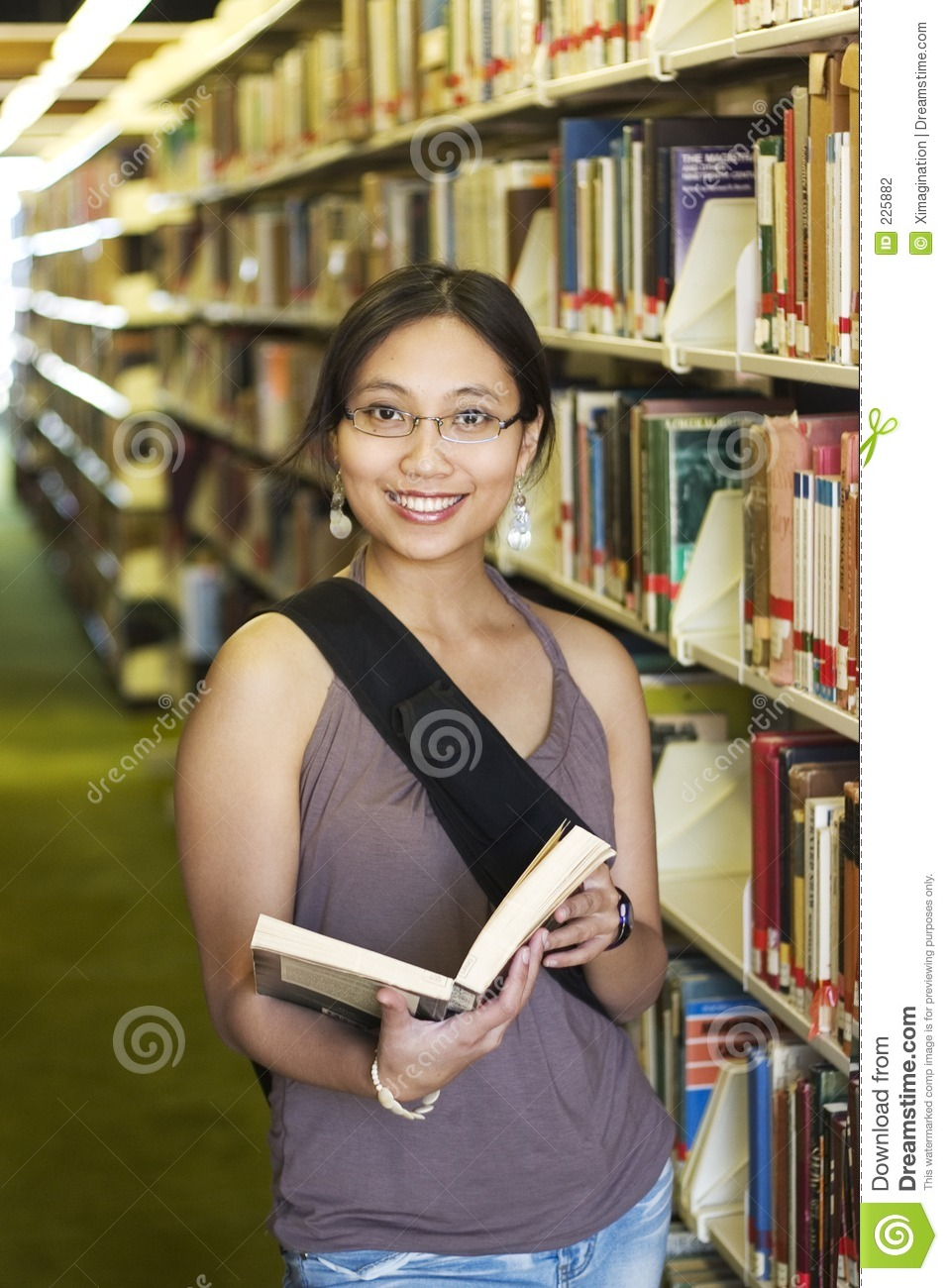 College Student at a Library