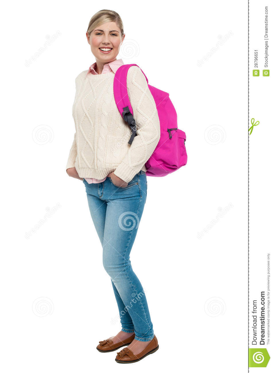 College Student In Winter Wear Posing With Pink Backpack ...