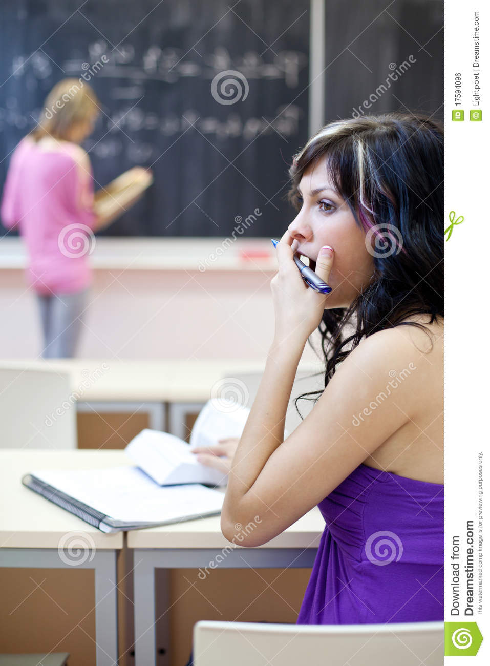 College Student Yawning In A Classroom Royalty Free Stock ...