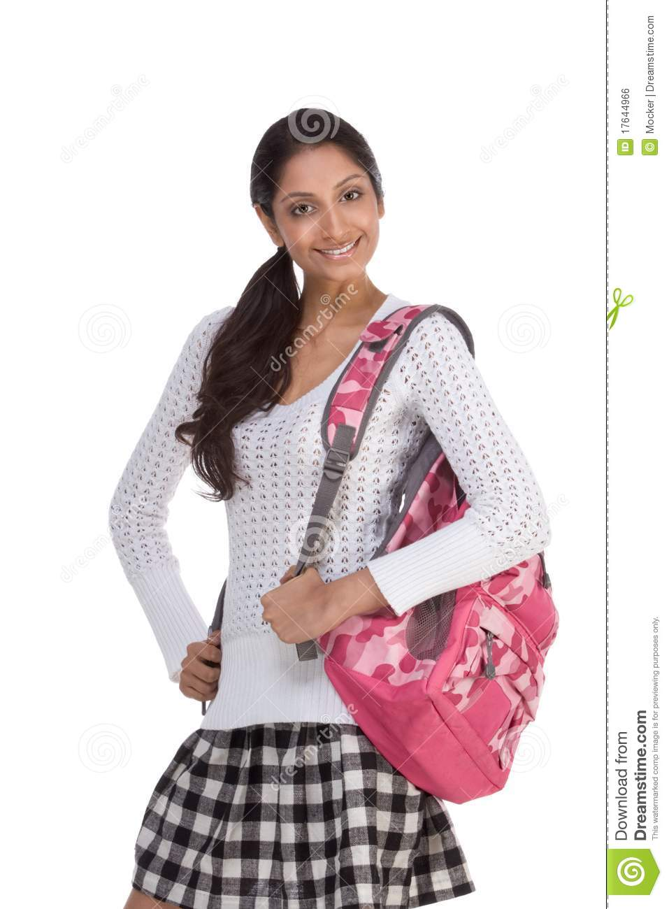 College Student Young Indian Woman With Backpack Stock ...