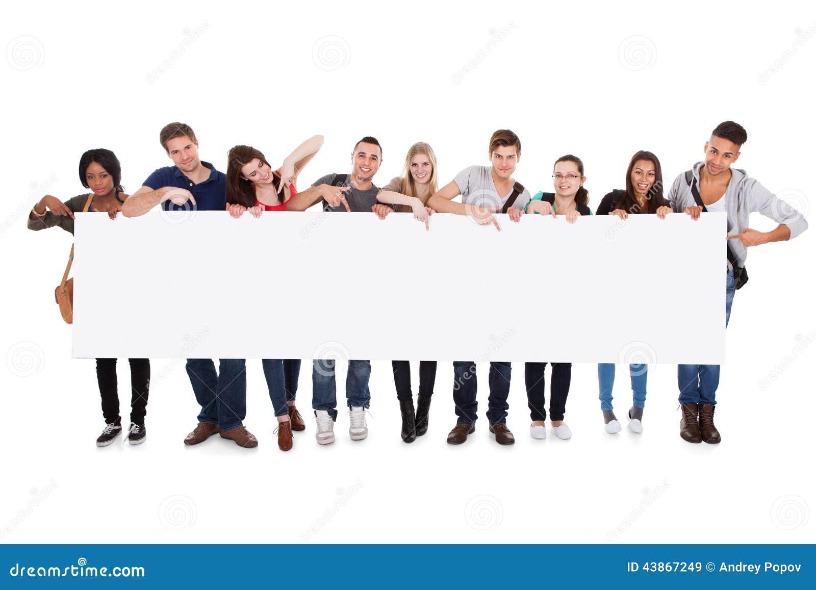 College students displaying blank billboard