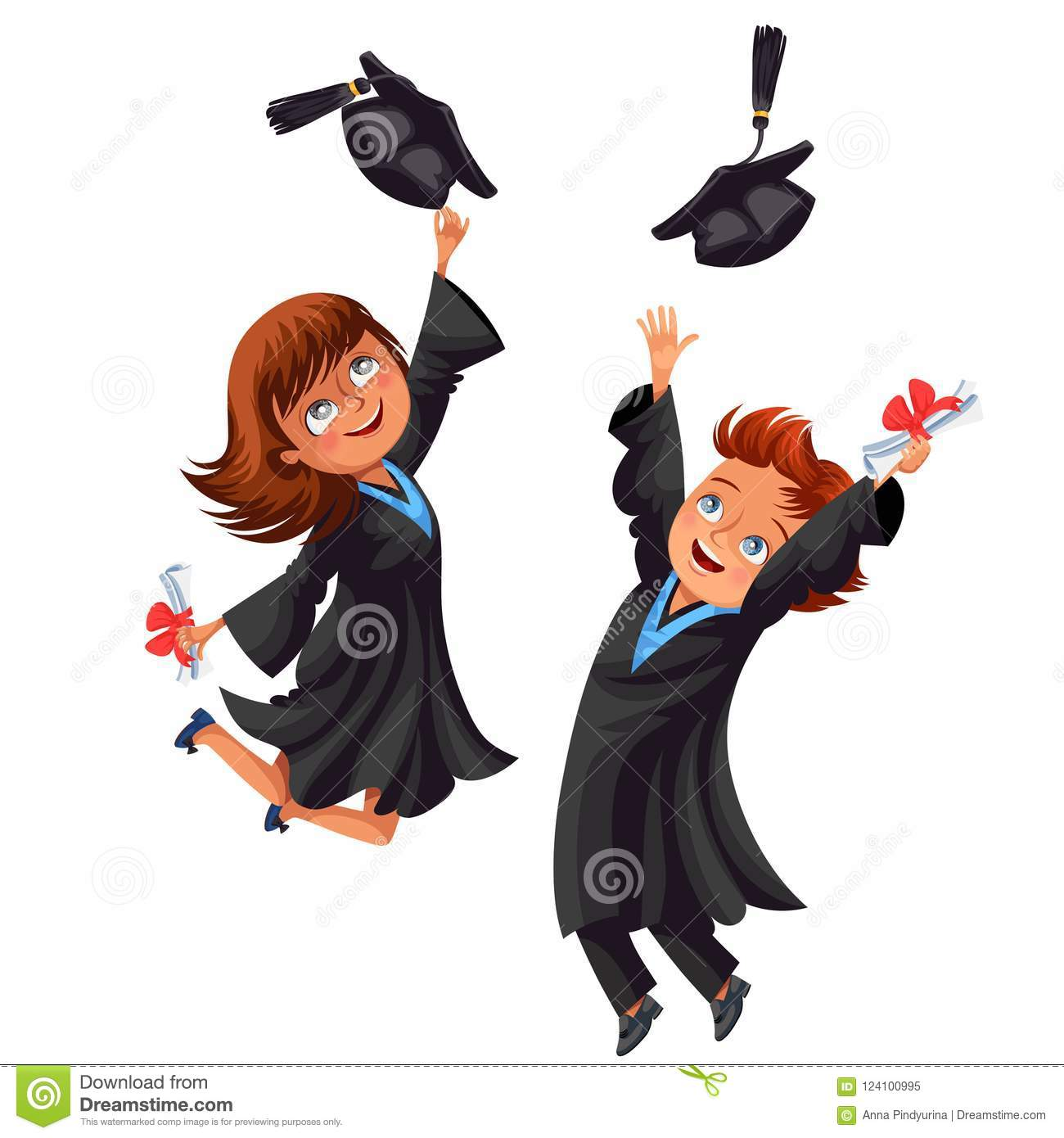 College Students Poster With Happy Graduates Of Celebrate High School Graduation Boys And Girls In Gowns Caps Diplomas Vector Illustration