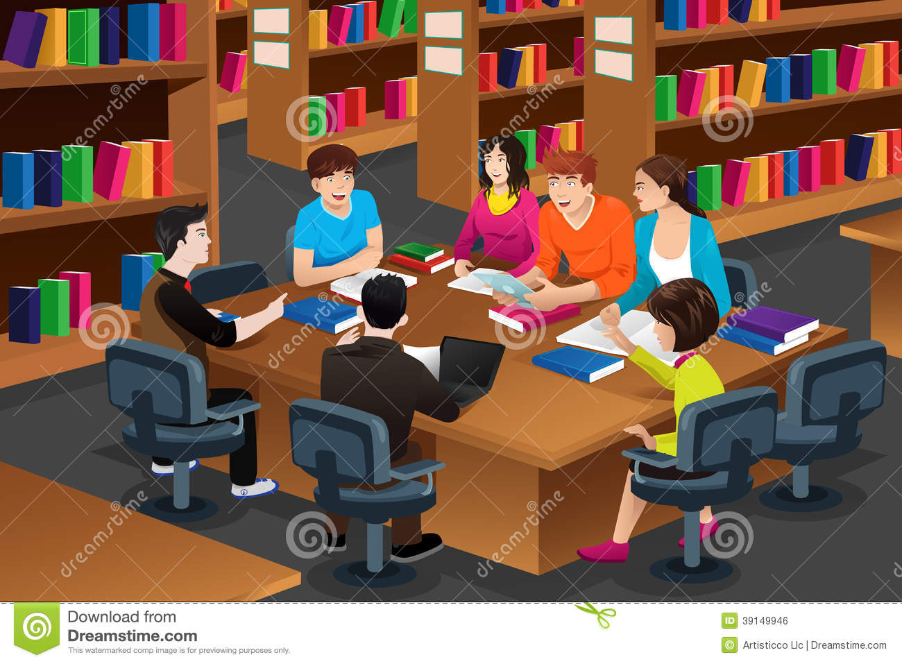 vector illustration of college students studying in the library ...