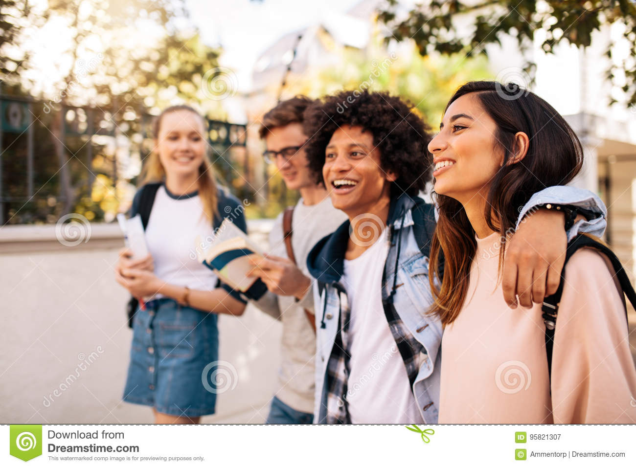 College students walking together outdoors