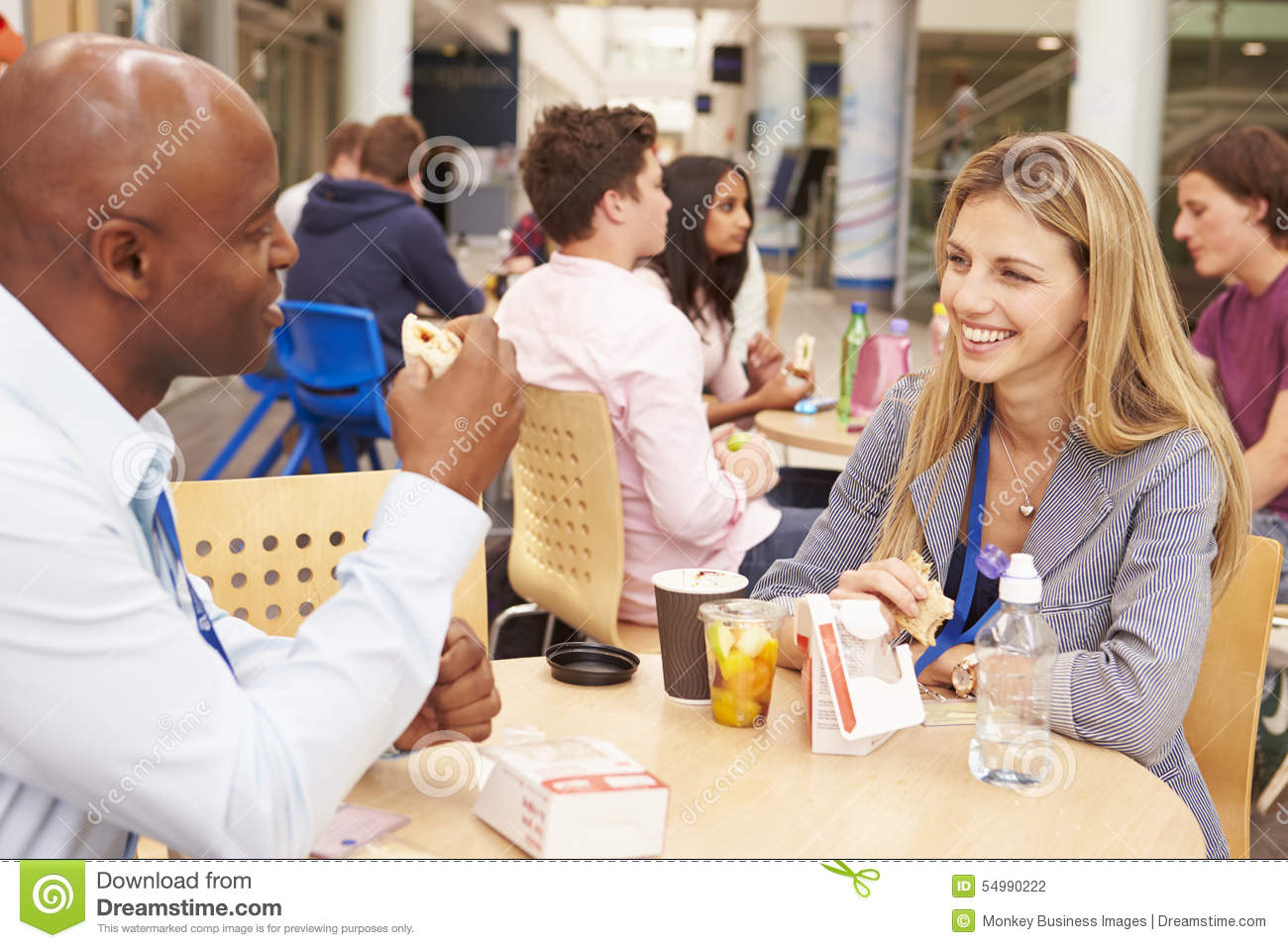 College Tutors Eating Lunch Together