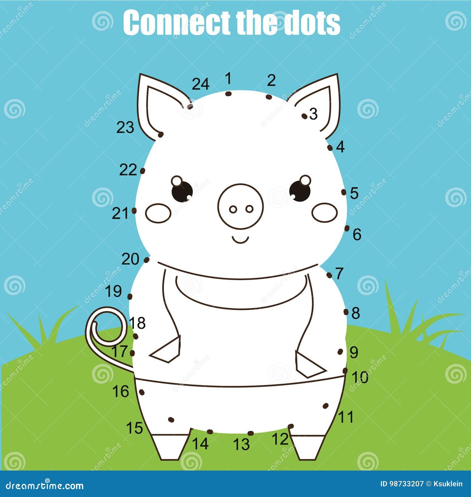 Colleghi i punti dal gioco educativo dei bambini di numeri Attività stampabile del foglio di lavoro Tema degli animali, maiale