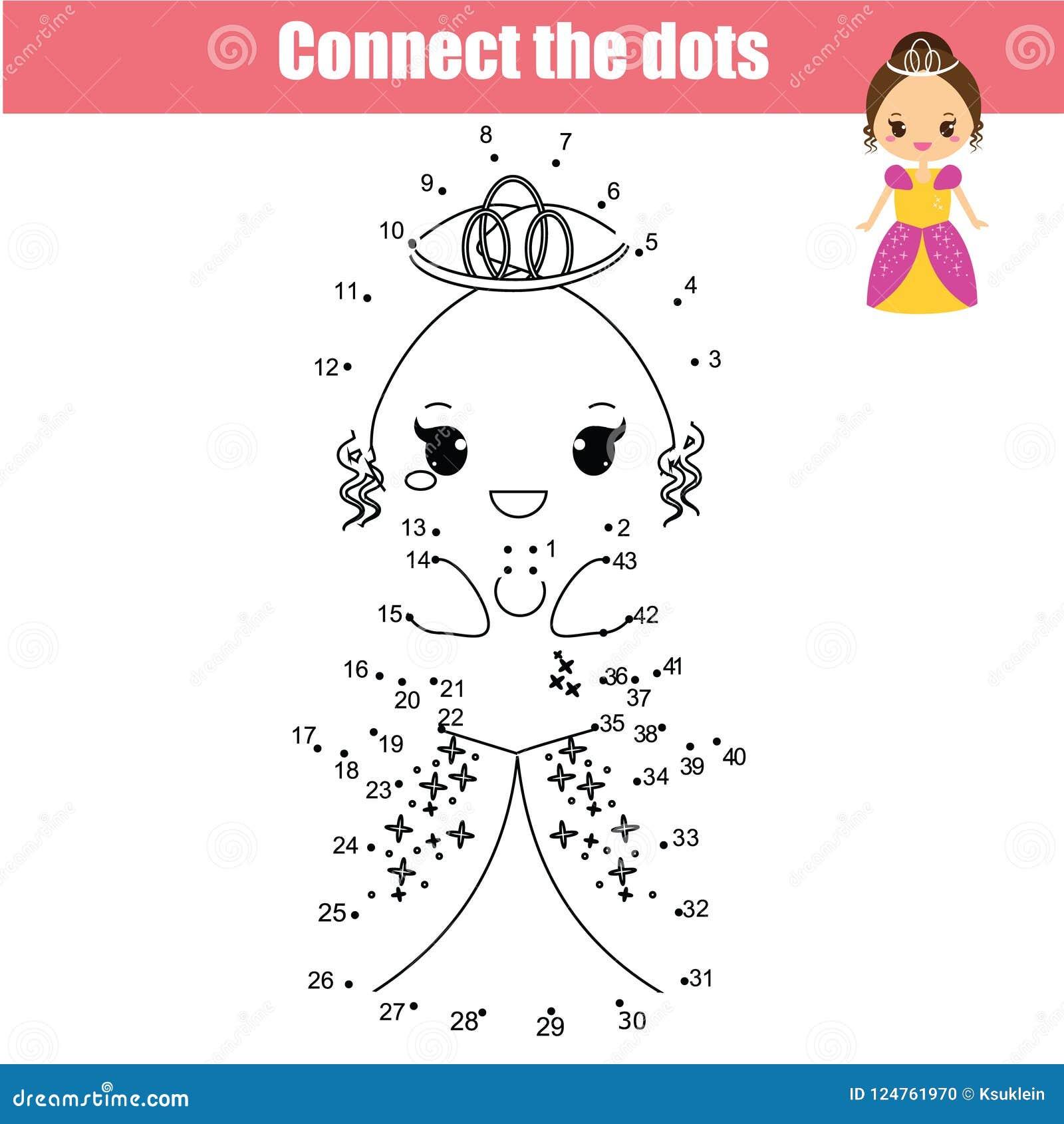 Colleghi i punti dal gioco educativo dei bambini di numeri Principessa sveglia
