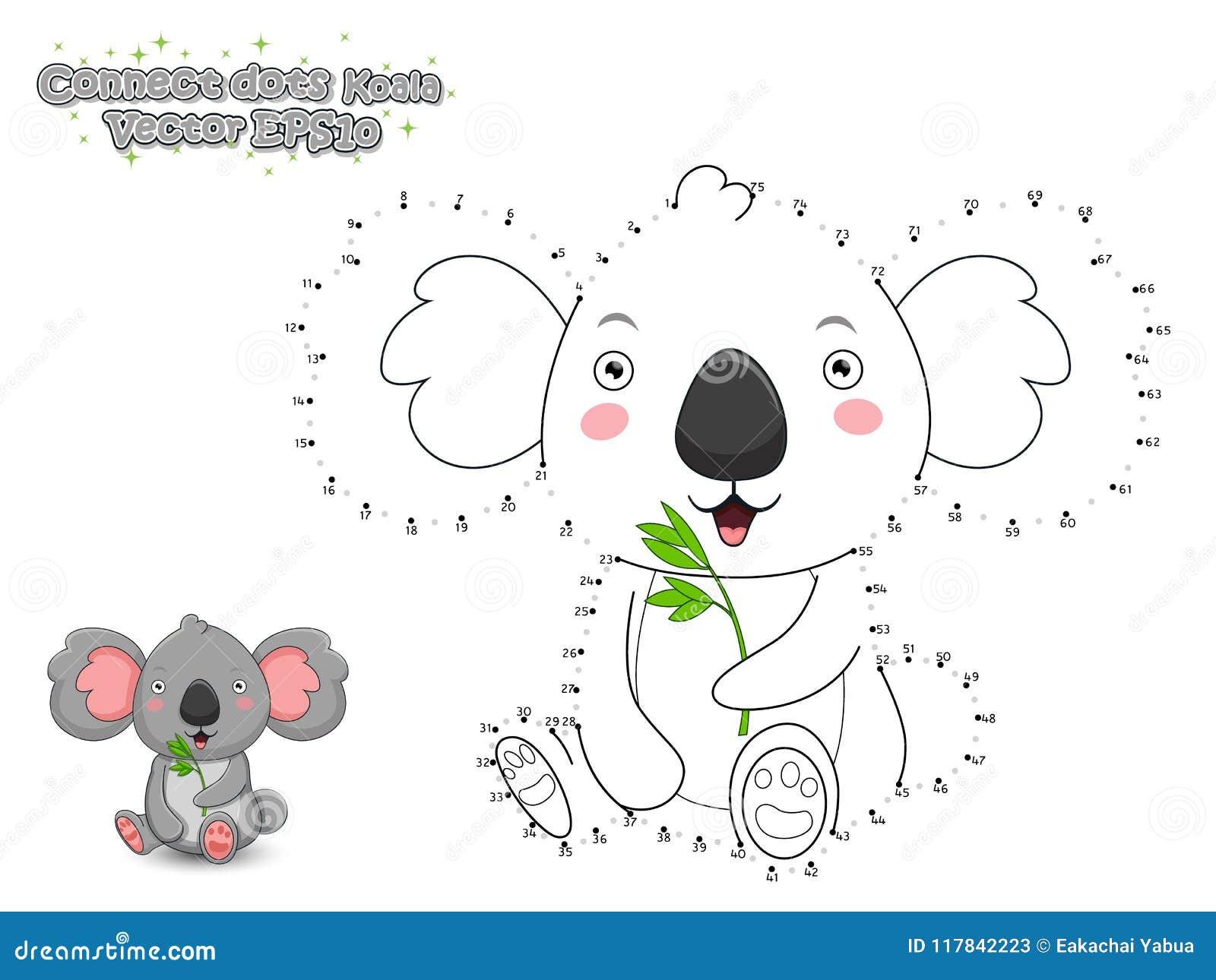 Colleghi i punti e disegni la koala sveglia del fumetto Gioco educativo f