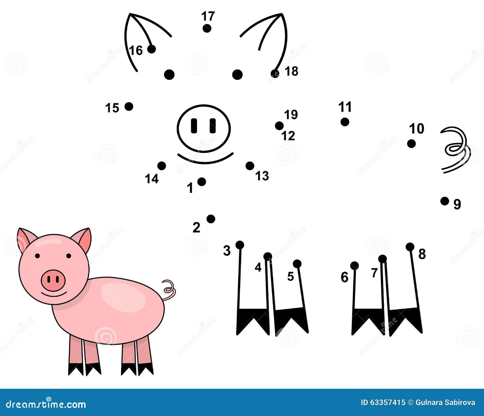 Colleghi i punti per disegnare il maiale sveglio Gioco di numeri educativo
