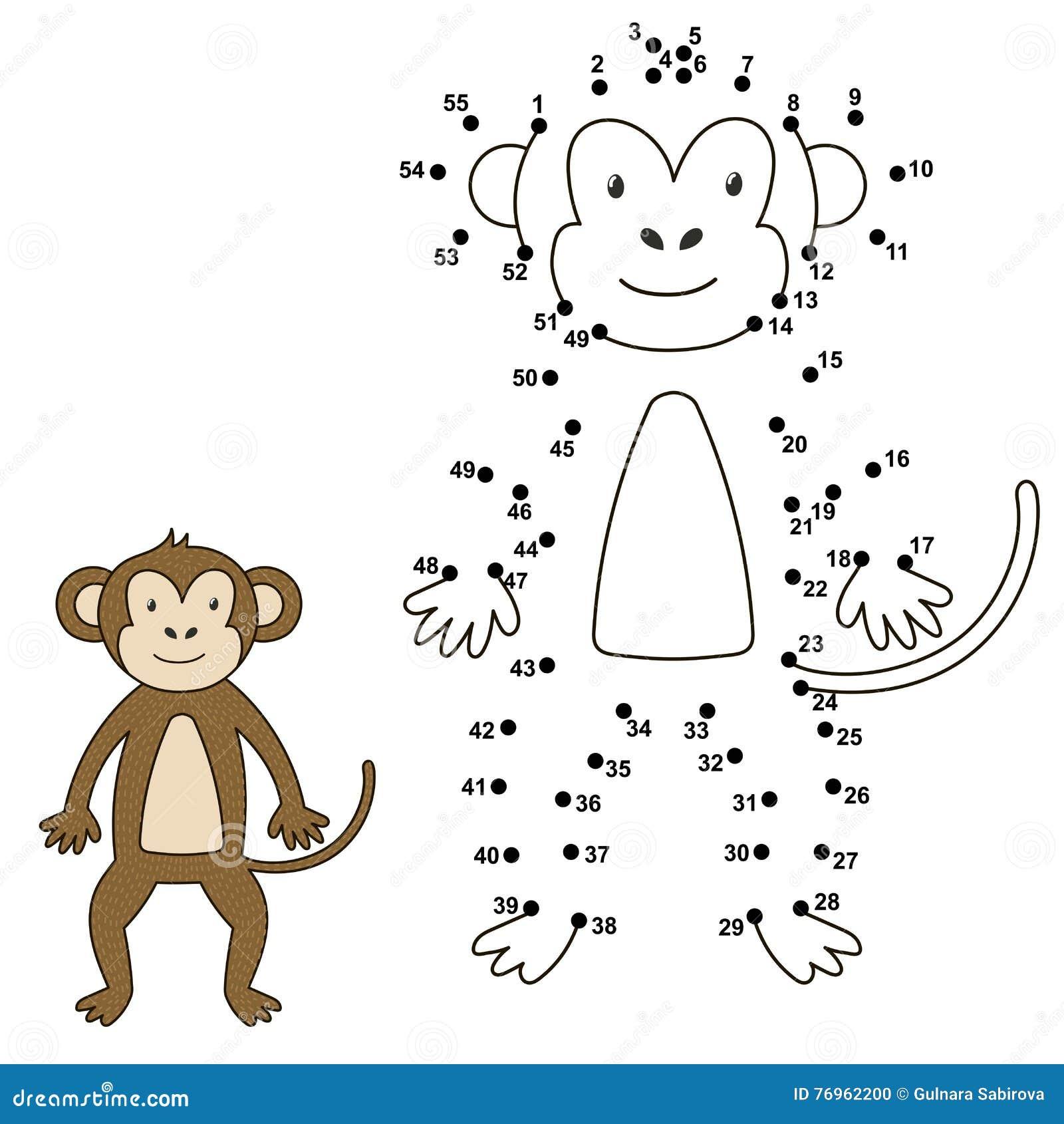 Colleghi i punti per disegnare la scimmia sveglia e per colorarlo