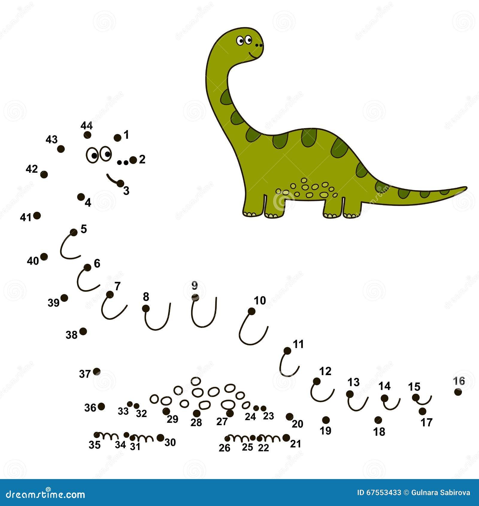 Colleghi i punti per disegnare un dinosauro sveglio e per colorarlo