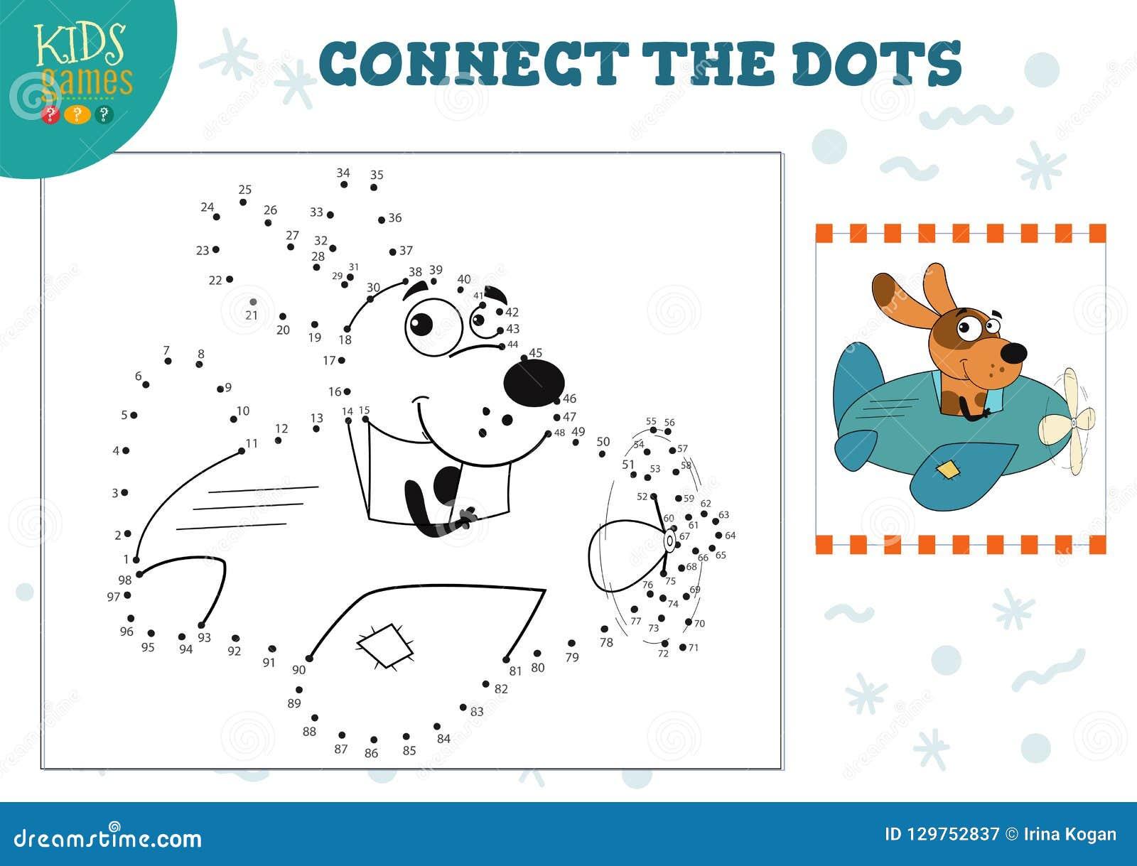 Colleghi l illustrazione di vettore del gioco dei bambini dei punti Attività connessa con l istruzione dei bambini in età prescol