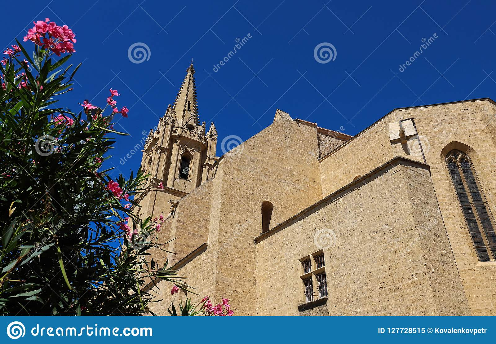 Collegial церковь St Laurent превосходный пример стиля ` s Франции меридионального готического Салон-de-Провансаль, Франция