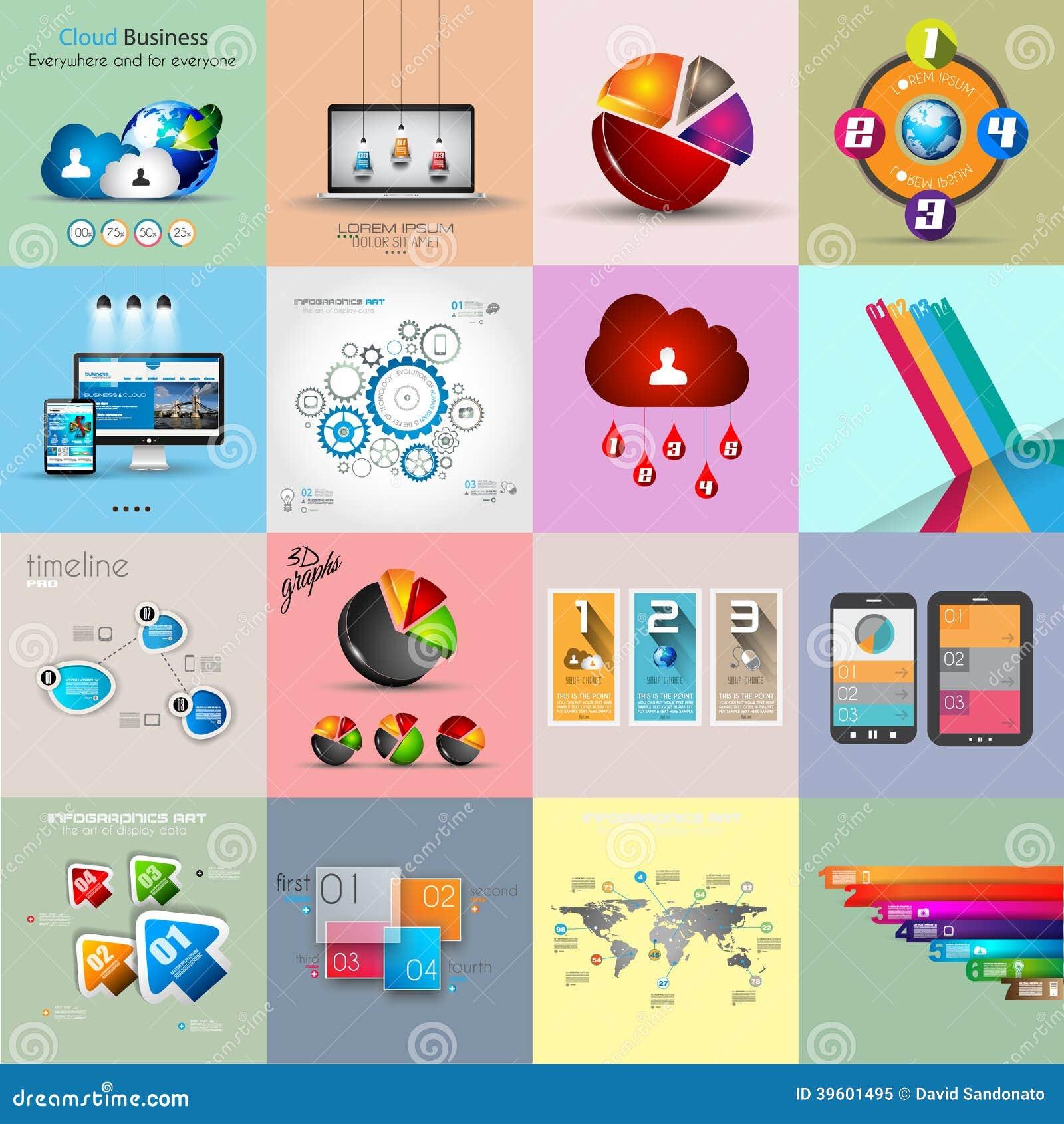 Collezioni del modello di Infographic con molti elementi differenti di progettazione