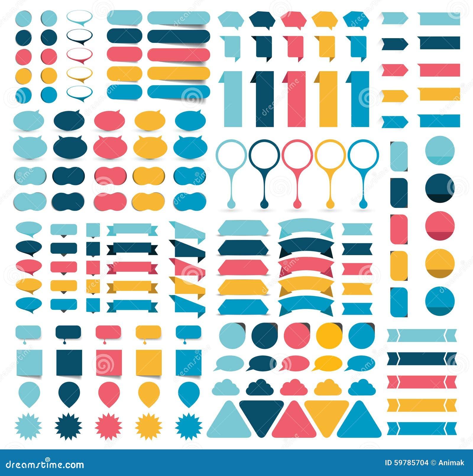 Collezioni mega di elementi piani di progettazione di infographics, bottoni, autoadesivi, carte per appunti, puntatori