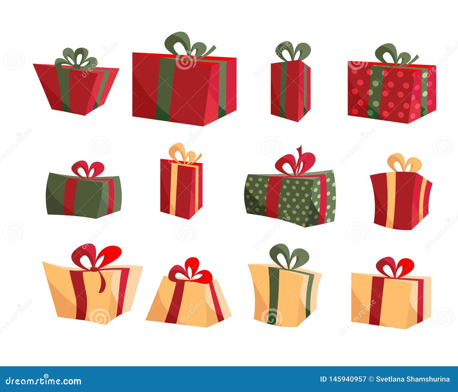 Collezioni variopinte del contenitore di regalo Metta del vettore piano delle scatole attuali Buon compleanno Buon Natale Regali