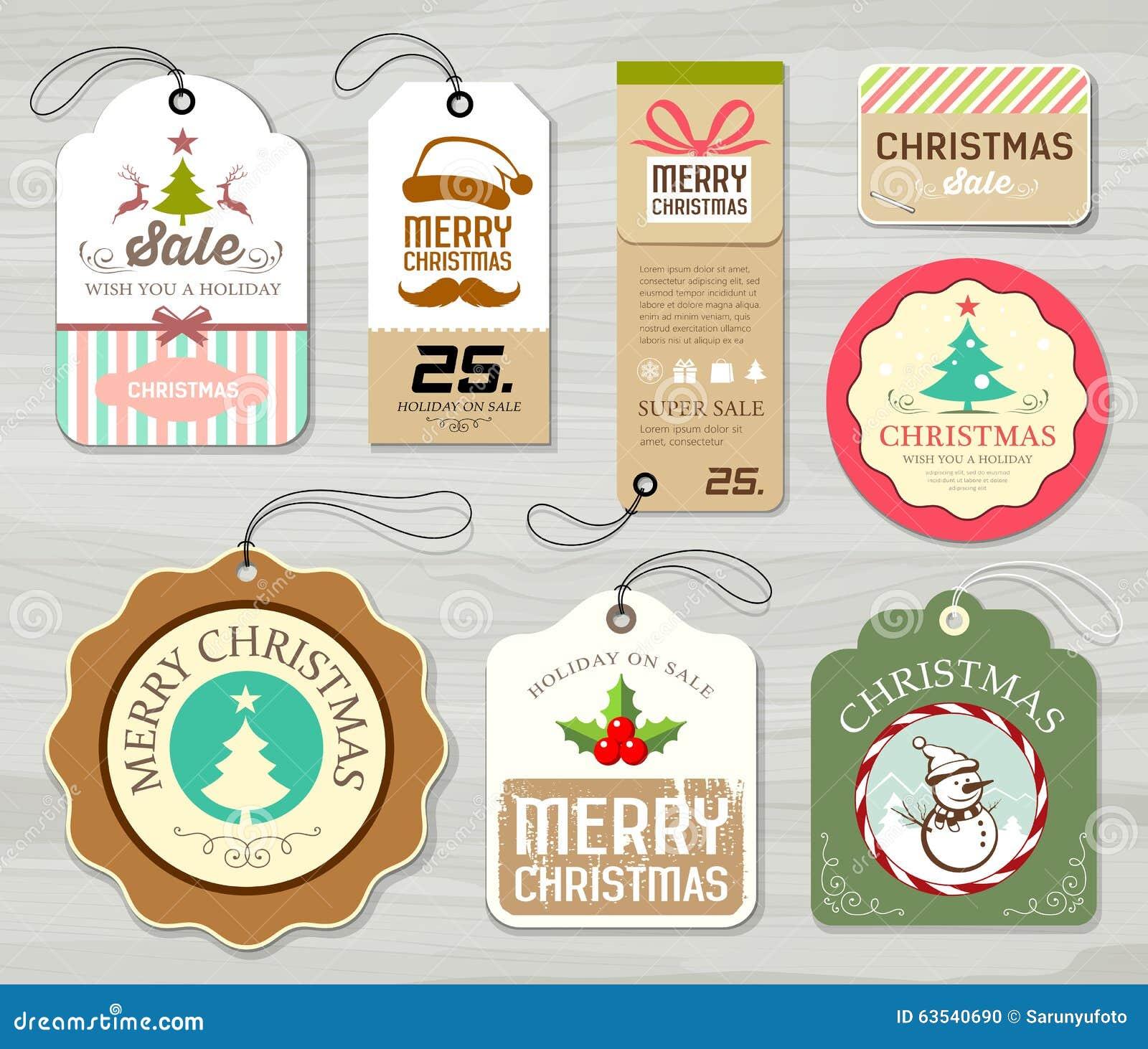 Collezioni variopinte della carta di etichetta di Buon Natale